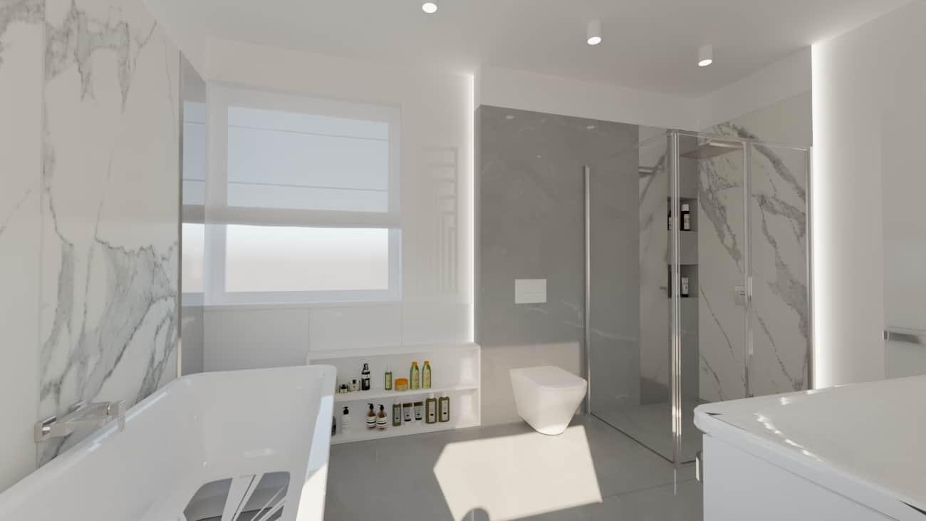 projektanci wnętrz lazienka bialy marmur lustro nad umywalka 1b Elegancki marmur w łazience salon kąpielowy