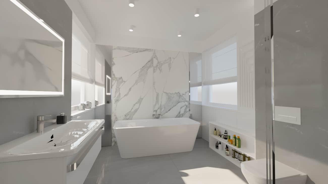 projektanci wnętrz lazienka bialy marmur lustro wanna wolnostojaca 1a Elegancki marmur w łazience salon kąpielowy