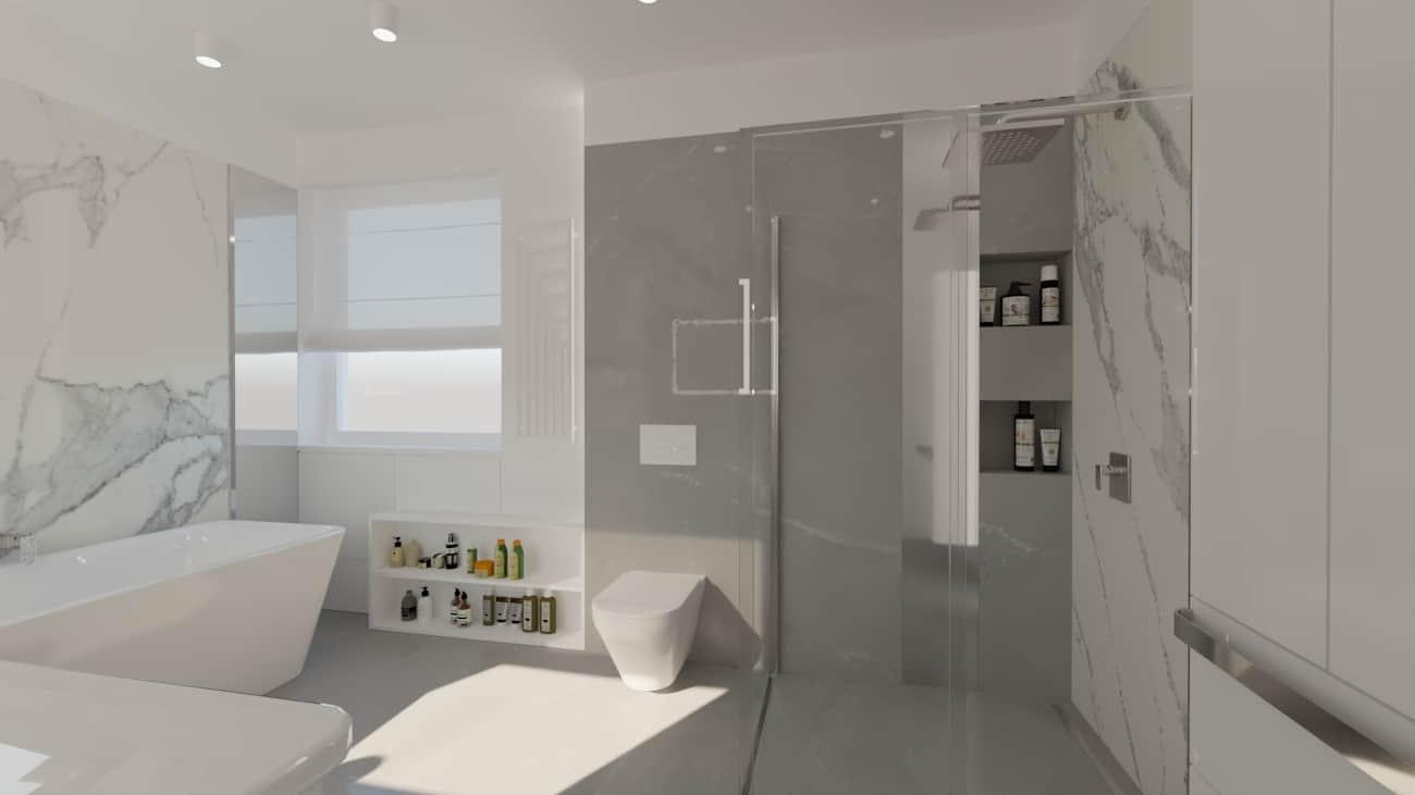 projektanci wnętrz lazienka bialy marmur lustro z oknem 1c Elegancki marmur w łazience salon kąpielowy