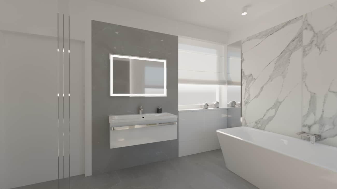 projektanci wnętrz lazienka bialy marmur lustro z podswietleniem 1d Elegancki marmur w łazience salon kąpielowy