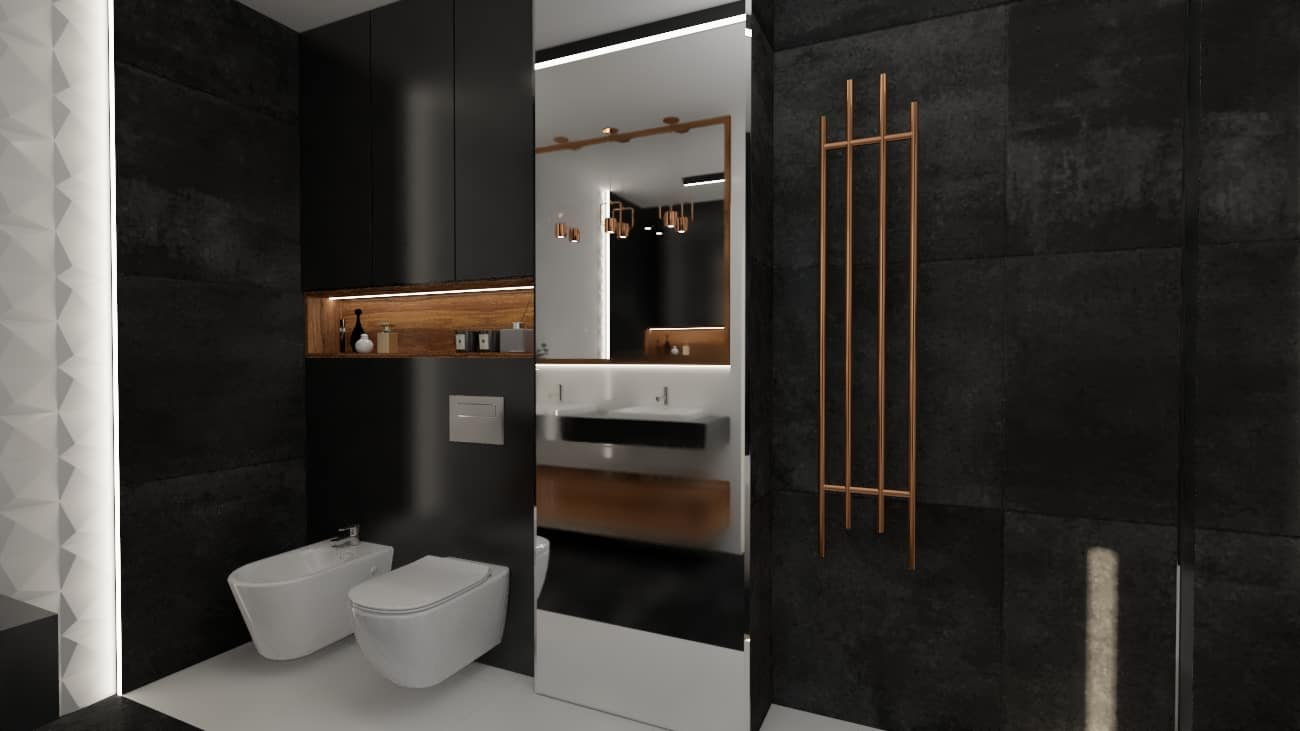 projektanci wnętrz lazienka elegandzka miedziane detale 1b Łazienka czarna z elementami miedzi