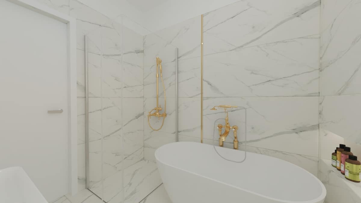 Łazienka biały marmur izłoto