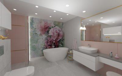Projekt łazienki zfototapetą