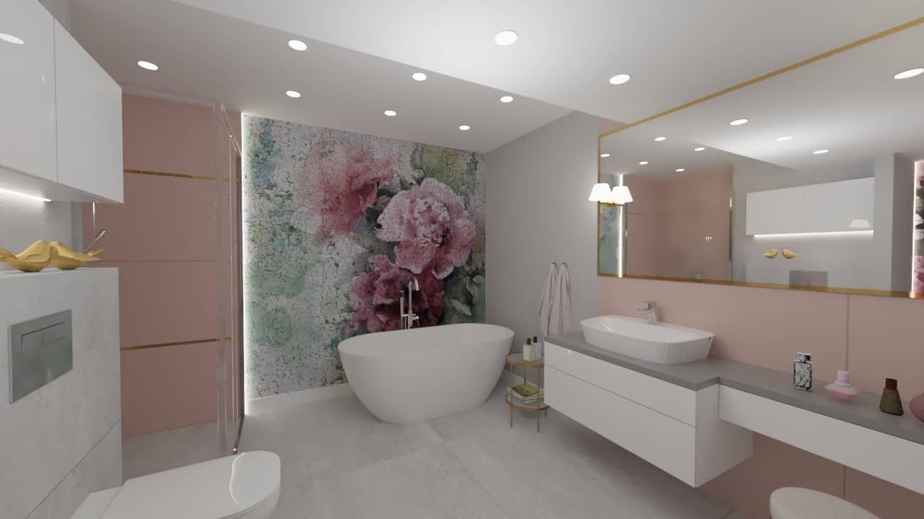 projektanci wnętrz lazienka tapeta kwiaty 1b Projekt łazienki z fototapetą