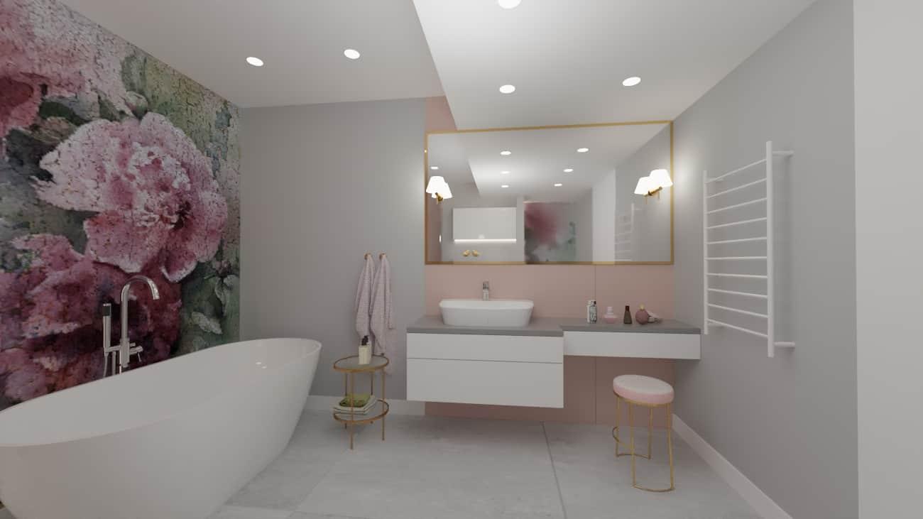 projektanci wnętrz lazienka tapeta kwiaty 1c Projekt łazienki z fototapetą