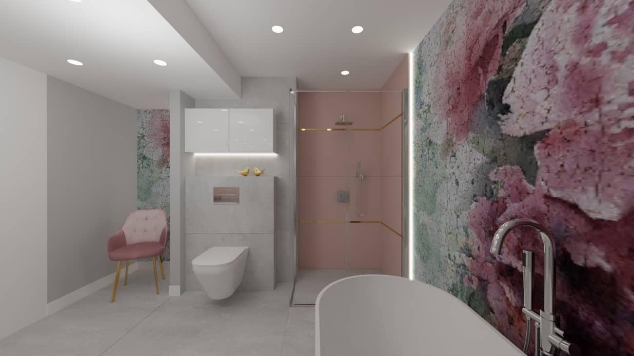 projektanci wnętrz lazienka tapeta kwiaty 1d Projekt łazienki z fototapetą