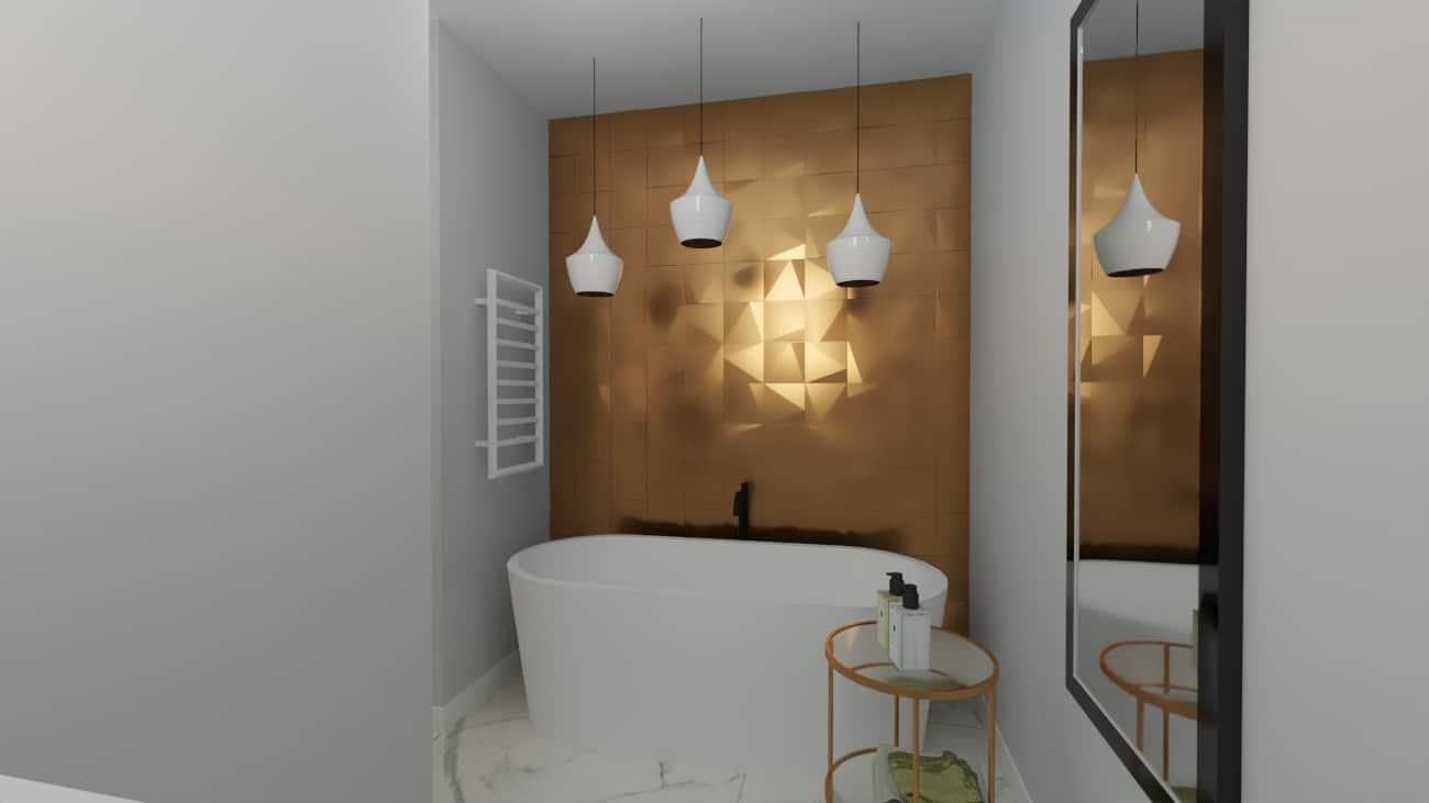 Łazienka ze złotym motywem