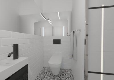 Biała toaleta ze wzorzystą podłogą