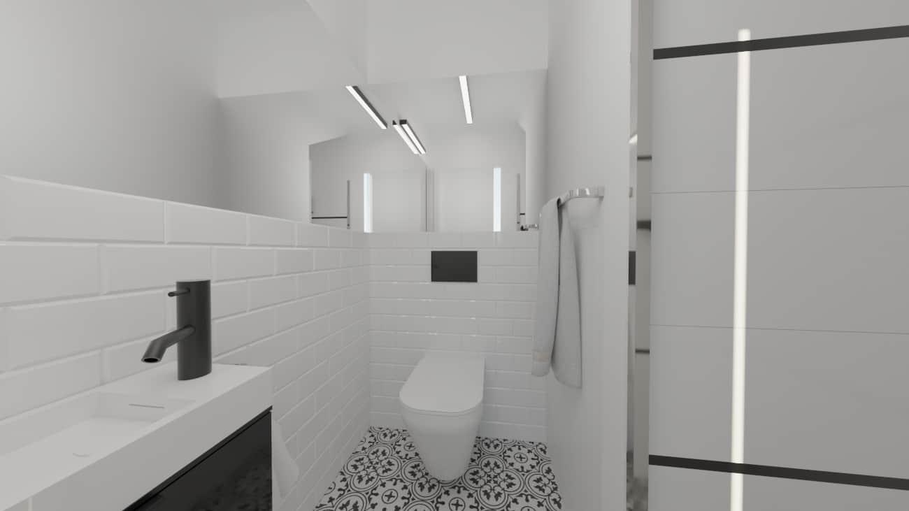 projektanci wnętrz male biale wc umywalka a1 Biała toaleta ze wzorzystą podłogą