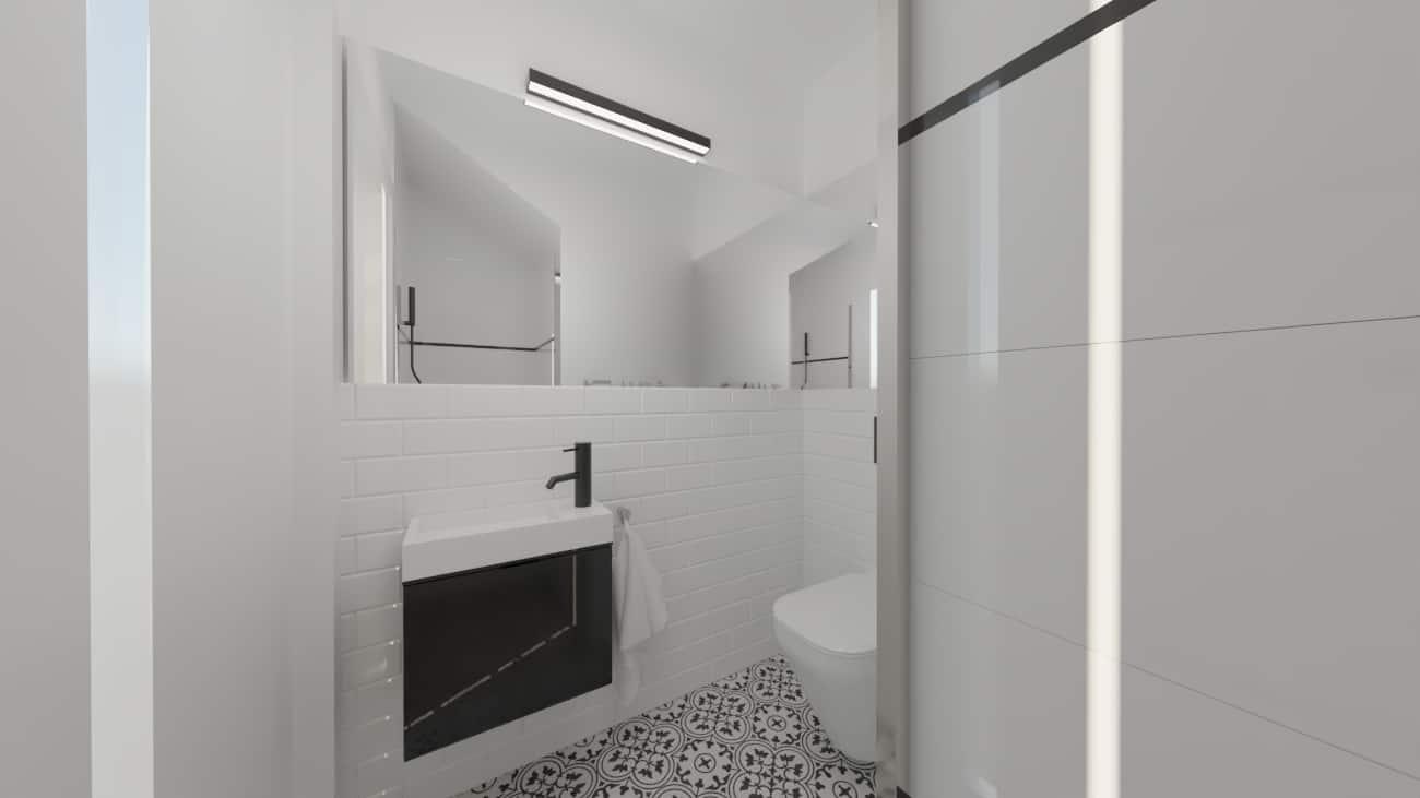projektanci wnętrz male biale wc umywalka a2 Biała toaleta ze wzorzystą podłogą