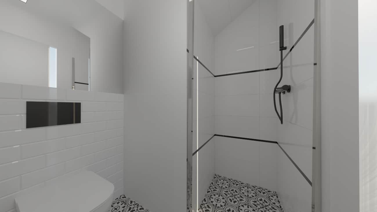 projektanci wnętrz male biale wc umywalka a3 Biała toaleta ze wzorzystą podłogą