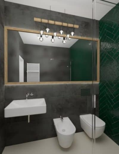 projektanci wnętrz zielono szara lazienka z lustrem toaleta umywalka 1a 1024x576 1 Łazienka butelkowa zieleń