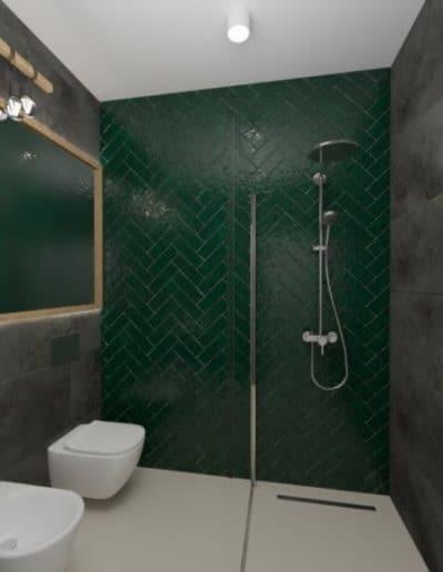 projektanci wnętrz zielono szara lazienka z lustrem toaleta umywalka 1b 1024x576 1 Łazienka butelkowa zieleń