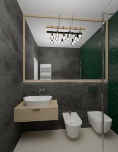 projektanci wnętrz zielono szara lazienka z lustrem toaleta umywalka 1d 1024x576 1 Łazienka butelkowa zieleń