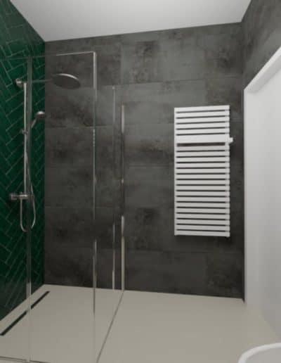 projektanci wnętrz zielono szara lazienka z lustrem toaleta umywalka 1f 1024x576 1 Łazienka butelkowa zieleń