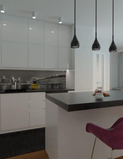 projektanci wnętrz Mieszkanie Marysin 1A Salon z kuchnią Marysin