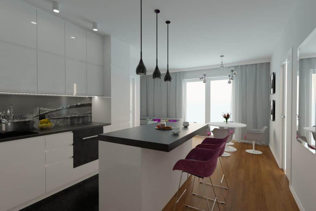 projektanci wnętrz Mieszkanie Marysin 2A Salon z kuchnią Marysin