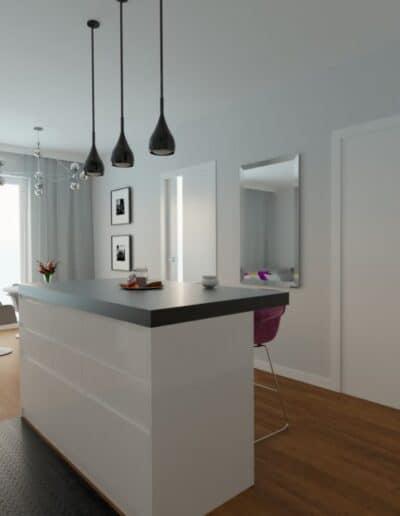 projektanci wnętrz Mieszkanie Marysin 3A Salon z kuchnią Marysin