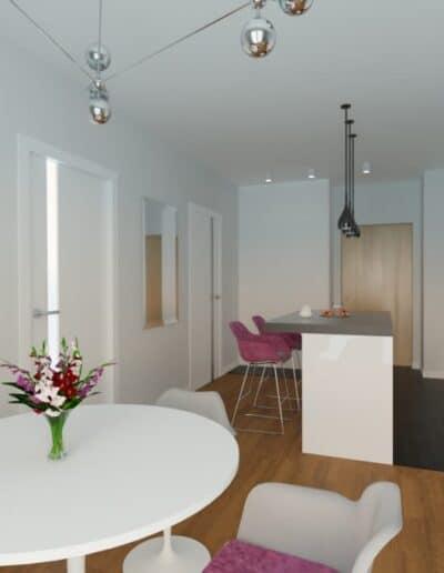 projektanci wnętrz Mieszkanie Marysin 4A Salon z kuchnią Marysin