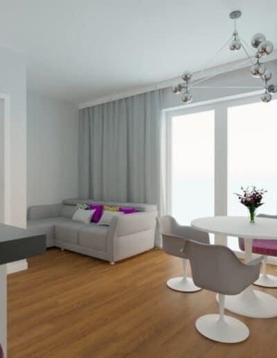 projektanci wnętrz Mieszkanie Marysin 5A Salon z kuchnią Marysin