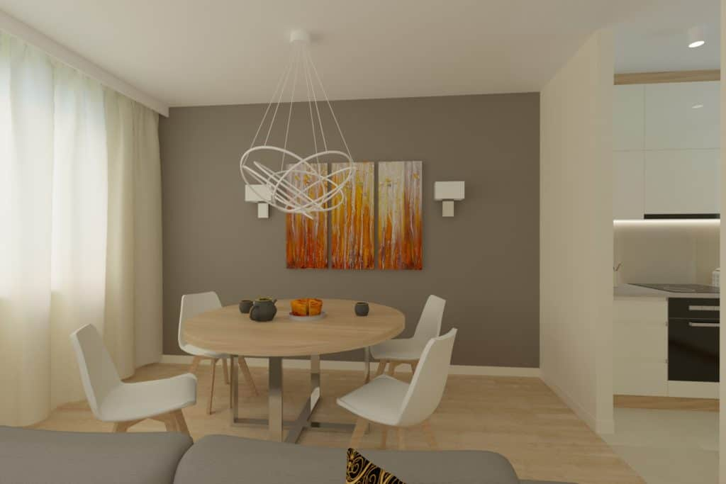 projektanci wnętrz Mieszkanie Ursynów 1A Kuchnia z salonem Ursynów