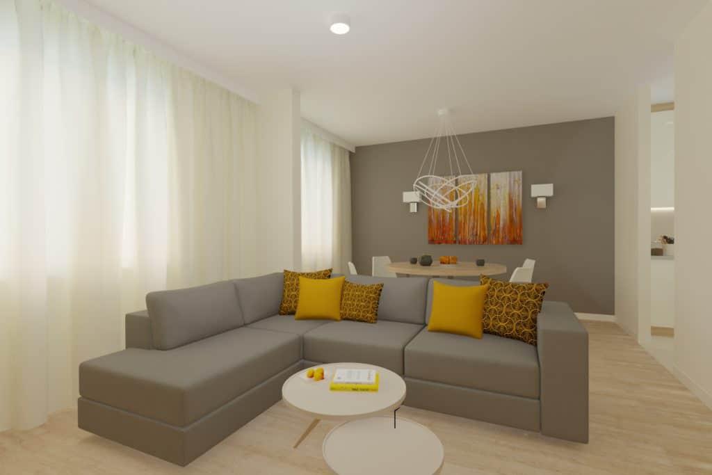 projektanci wnętrz Mieszkanie Ursynów 2A Salon z kuchnią Ursynów
