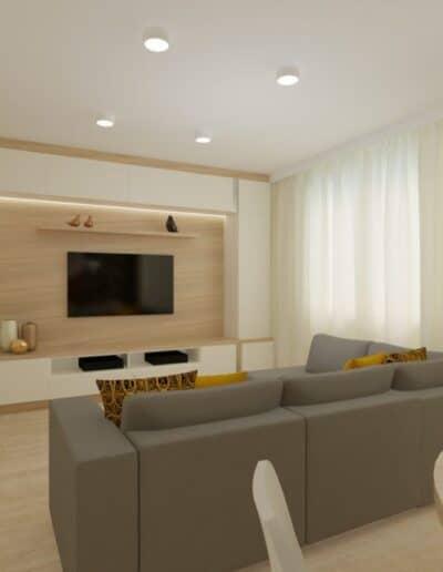 projektanci wnętrz Mieszkanie Ursynów 3A Salon z kuchnią Ursynów