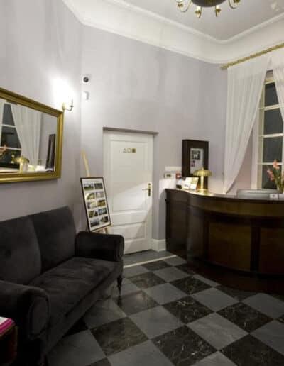 projektanci wnętrz Palac Cielesnica recepcja A2 Hol z łazienką Pałac Celeśnica