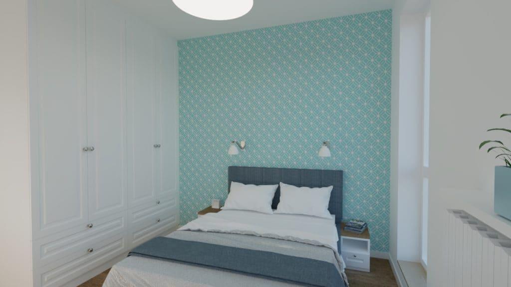 projektanci wnętrz SYPIALNIA niebieska 2a Sypialnia w niebieskościach