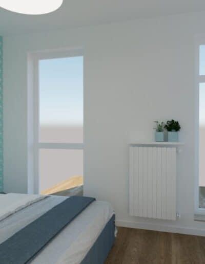 projektanci wnętrz SYPIALNIA niebieska 2b Sypialnia w niebieskościach