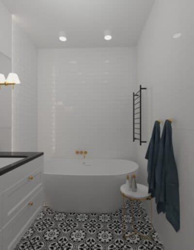 projektanci wnętrz biala lazienka 2a Biało-czarna łazienka