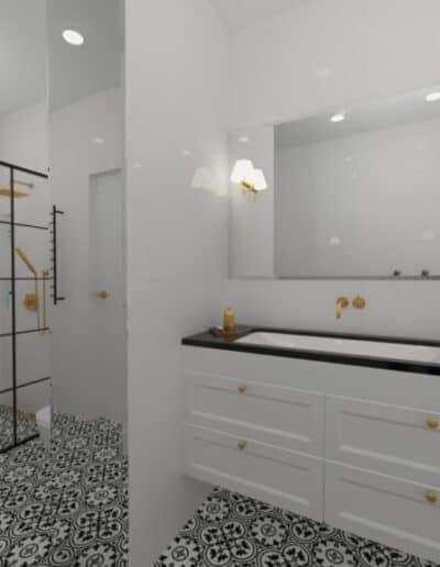 projektanci wnętrz biala lazienka 2d Biało-czarna łazienka
