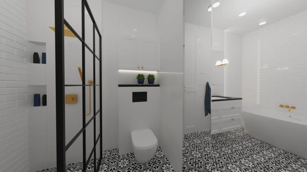 projektanci wnętrz biala lazienka 2f Biało-czarna łazienka
