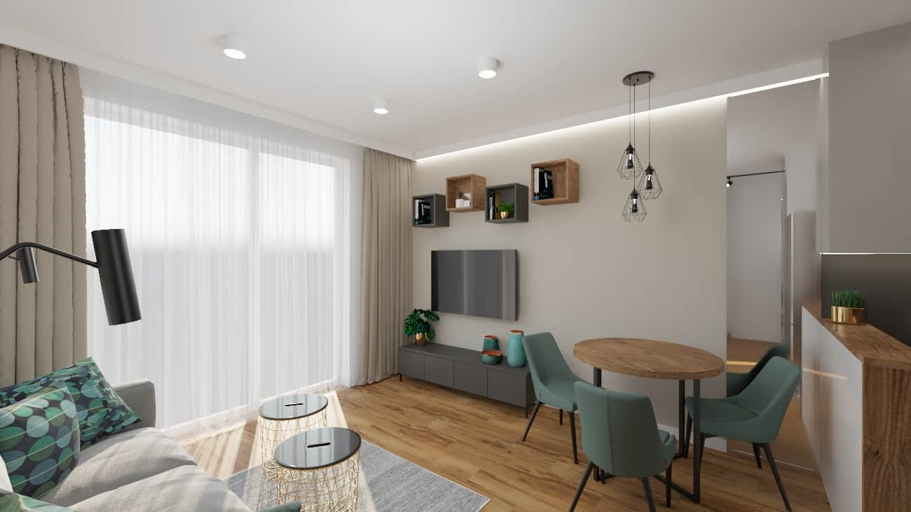 projektanci wnętrz kuchnia i salon okragly stol 1b Salon z okrągłym stołem z kuchnią