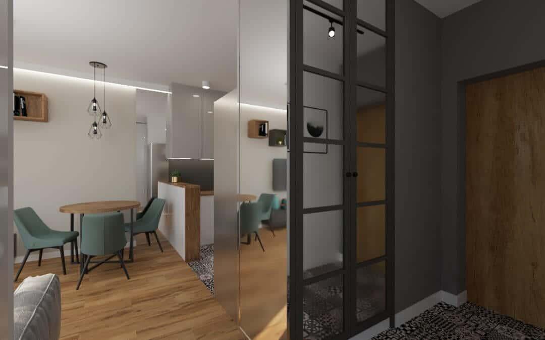 Kuchnia i salon okrągły stół