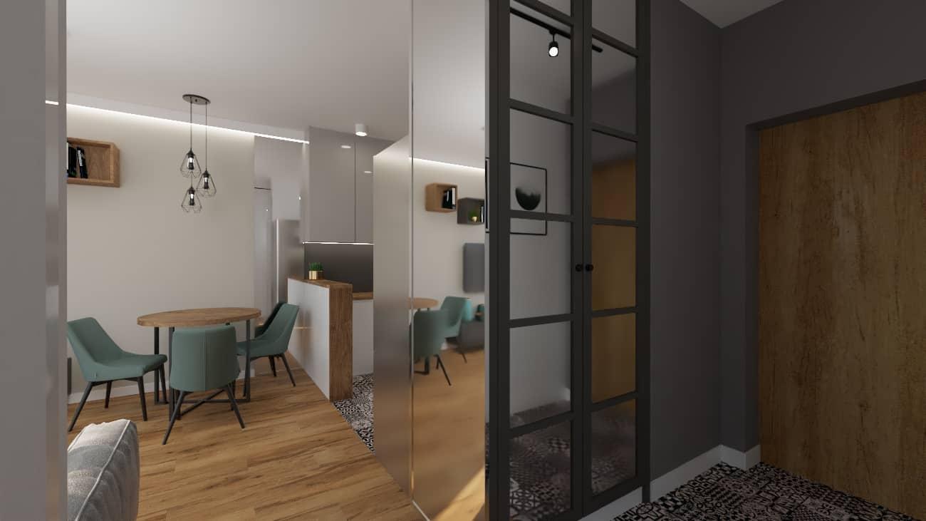 projektanci wnętrz kuchnia i salon okragly stol 1d Salon z okrągłym stołem z kuchnią
