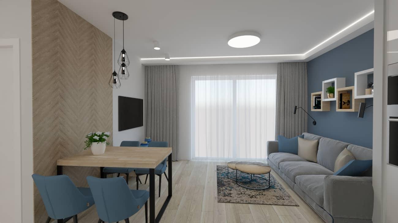 projektanci wnętrz kuchnia otwarta na salon niebieskie krzesla 1a Salon niebieska ściana