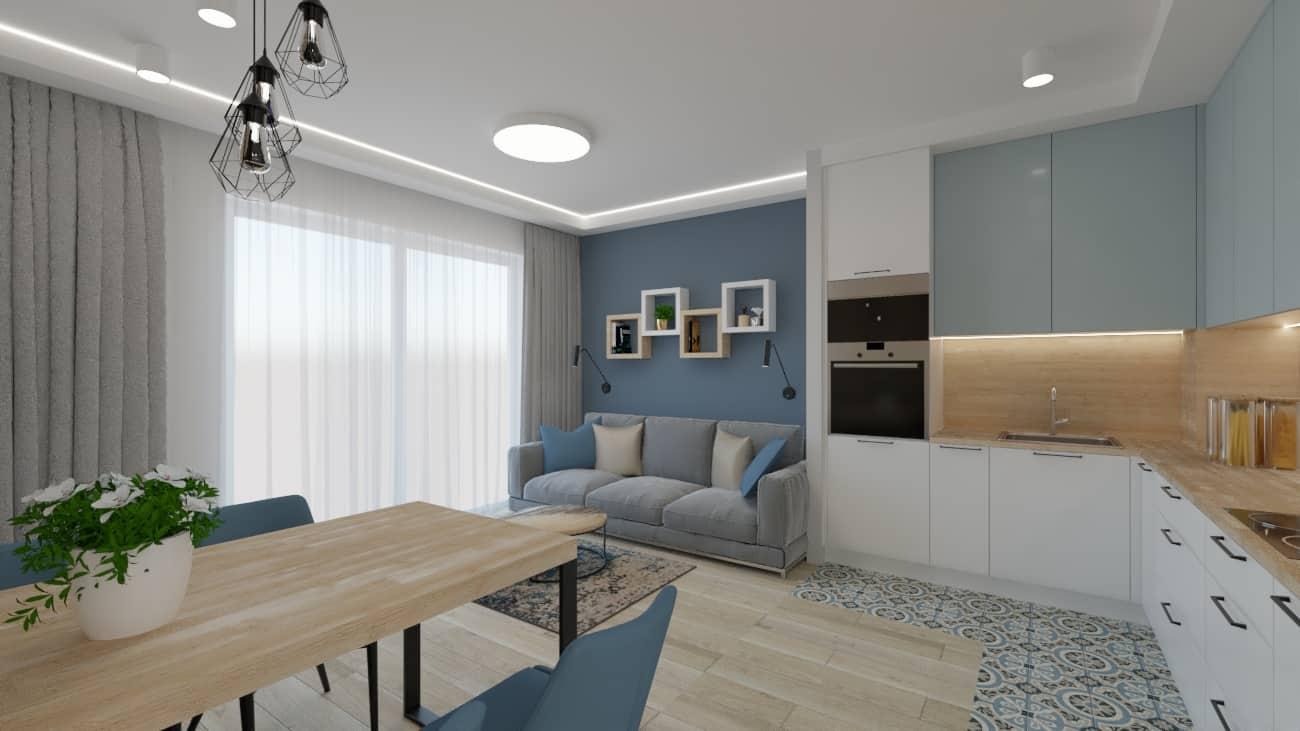 Kuchnia otwarta naniebieski salon
