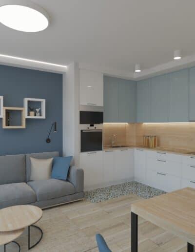 projektanci wnętrz kuchnia otwarta na salon niebieskie krzesla 1c Salon niebieska ściana