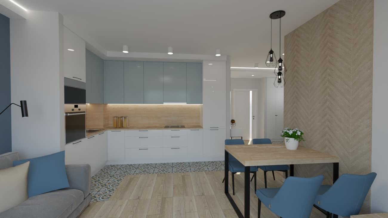 projektanci wnętrz kuchnia otwarta na salon niebieskie krzesla 1d Salon niebieska ściana