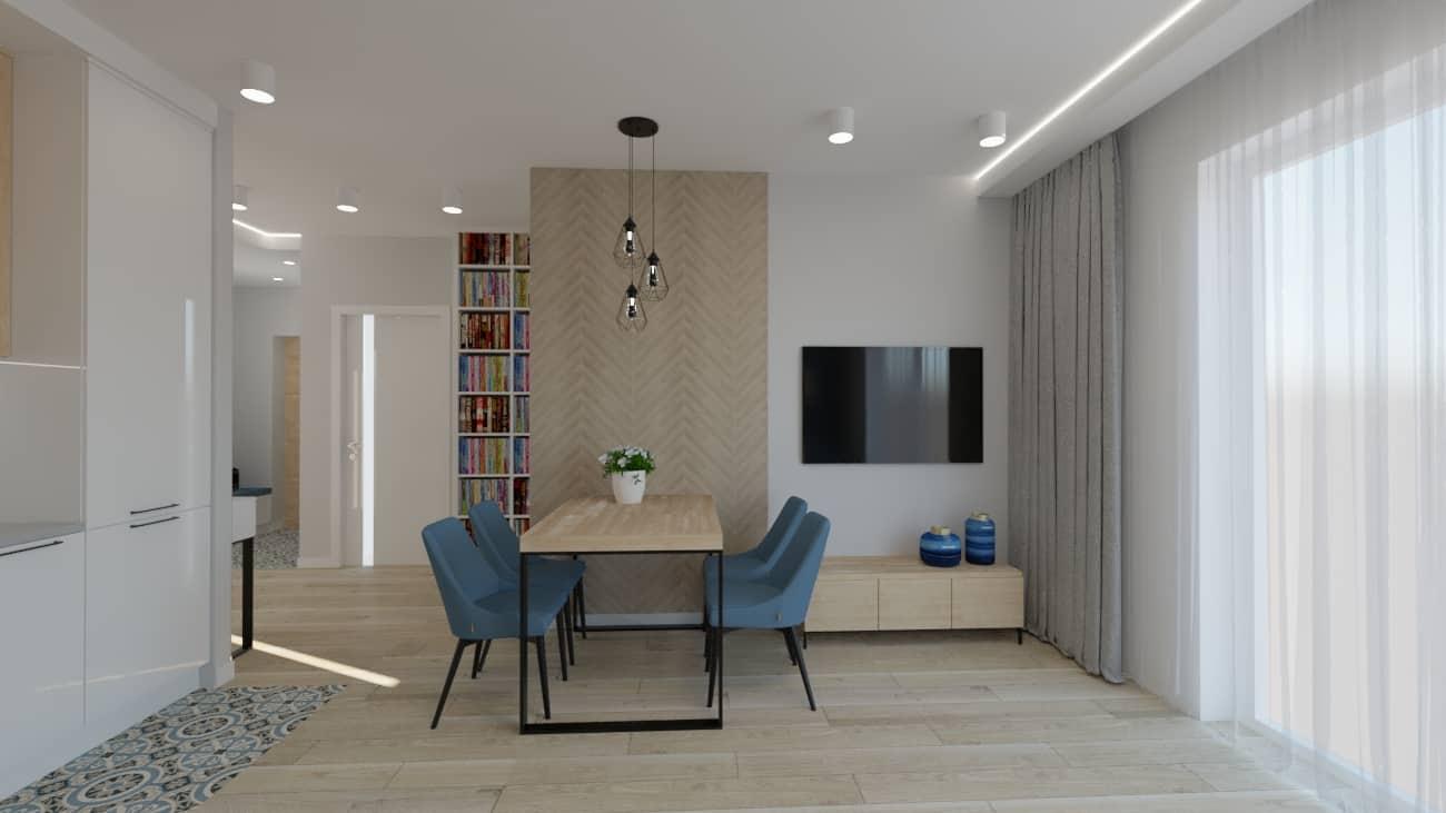 projektanci wnętrz kuchnia otwarta na salon niebieskie krzesla 1e Salon niebieska ściana