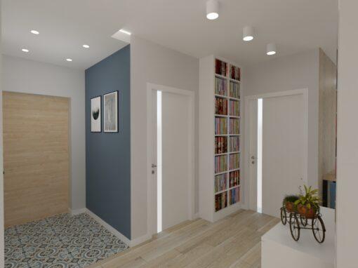 Salon niebieska ściana