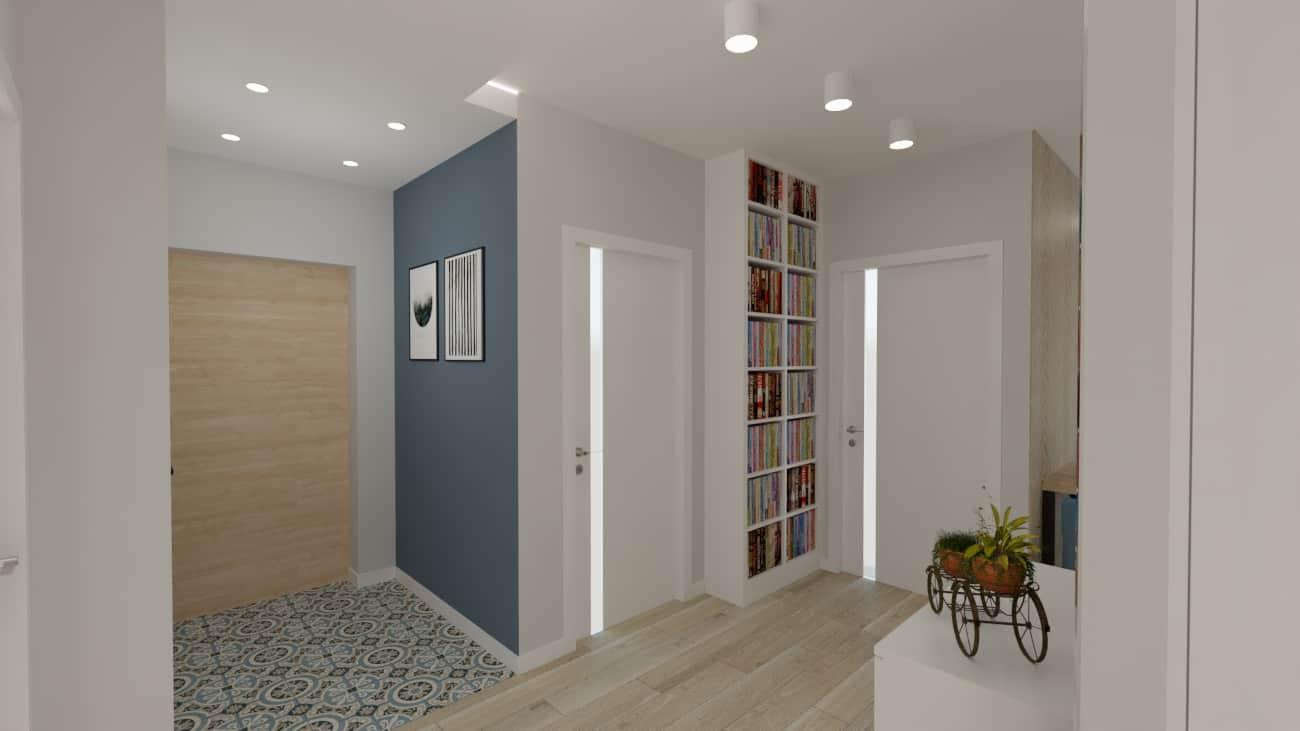 projektanci wnętrz kuchnia otwarta na salon niebieskie krzesla 1f Salon niebieska ściana