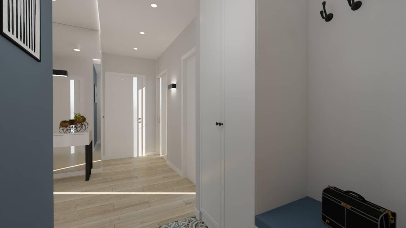 projektanci wnętrz kuchnia otwarta na salon niebieskie krzesla 1g Salon niebieska ściana