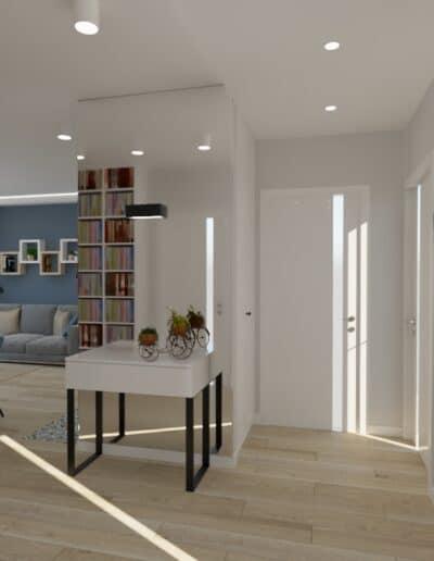 projektanci wnętrz kuchnia otwarta na salon niebieskie krzesla 1h Salon niebieska ściana