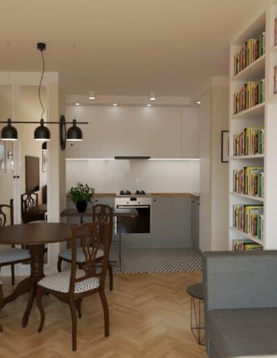 projektanci wnętrz kuchnia z salonem styl retro 1a Salon retro otwarty na kuchnię