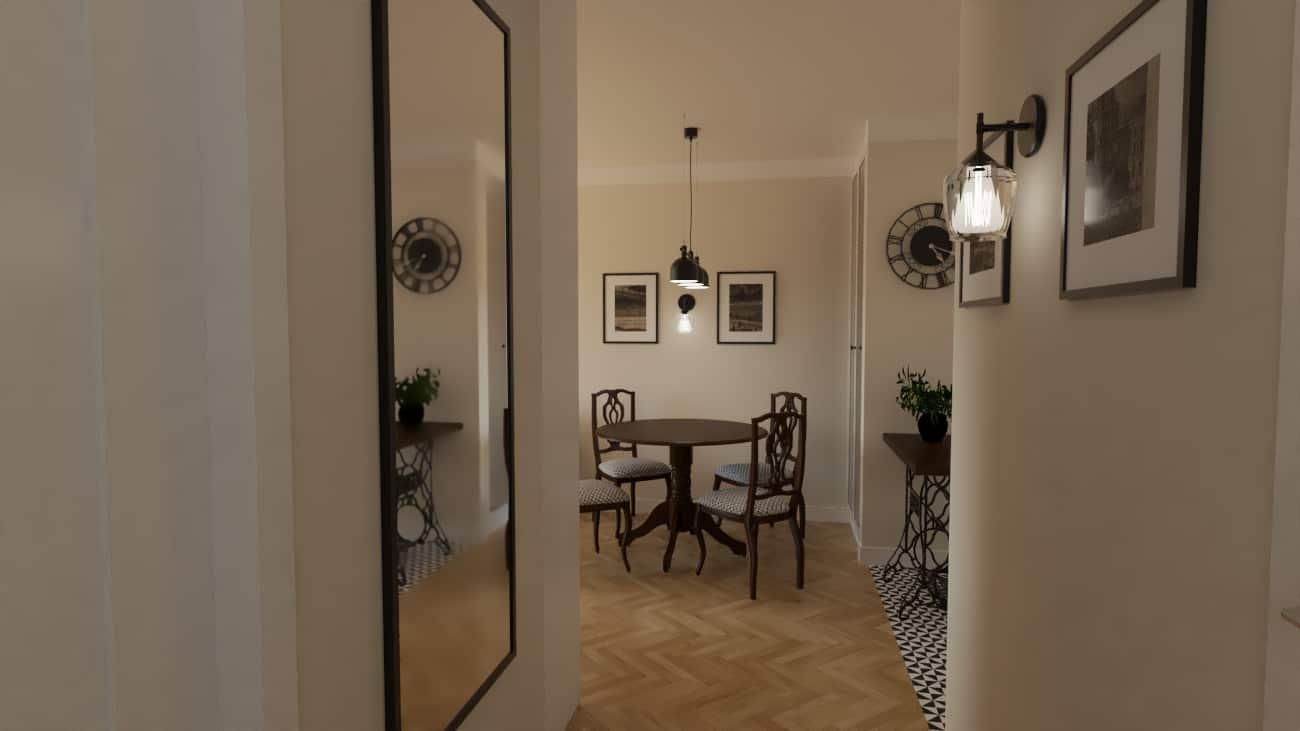 projektanci wnętrz kuchnia z salonem styl retro 1f Salon retro otwarty na kuchnię
