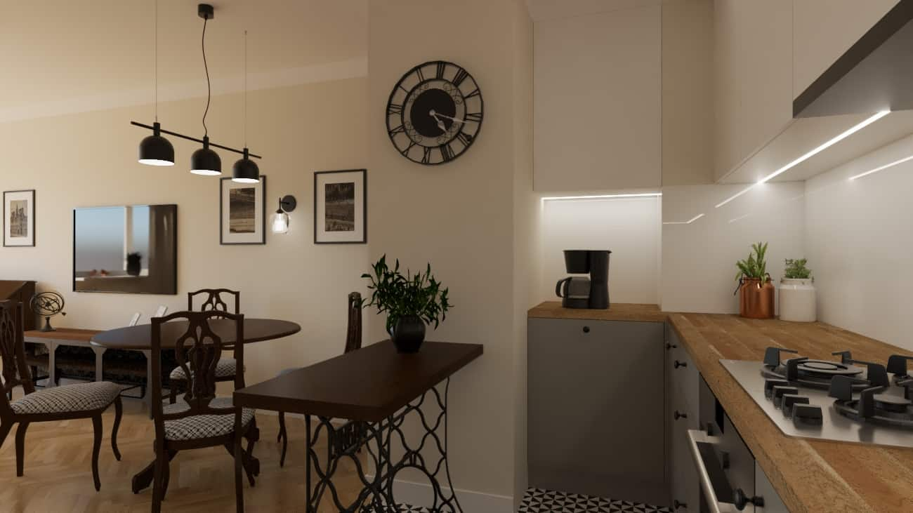 Salon retro otwarty na kuchnię