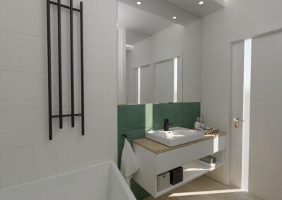 Łazienka biało-zielona
