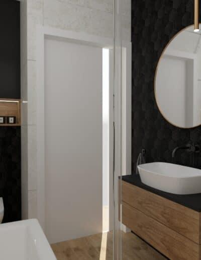 projektanci wnętrz lazienka czarna sciana okragle lustro 1a Łazienka czarna ściana i okrągłe lustro